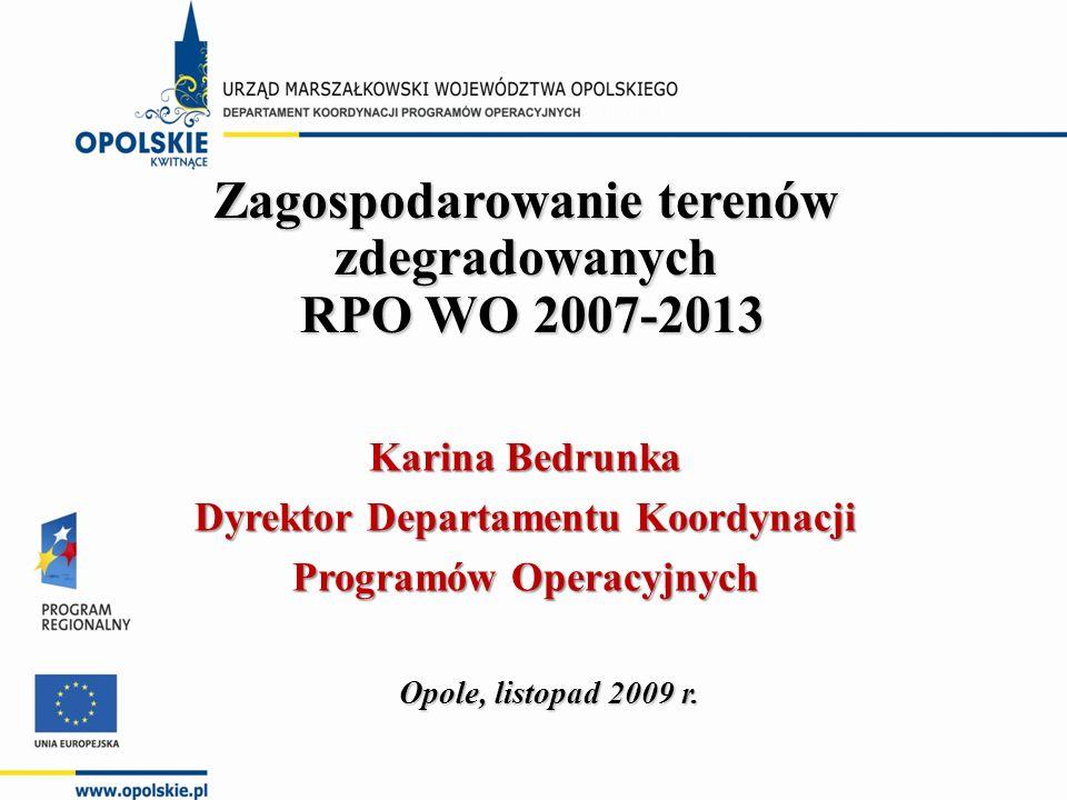 Zagospodarowanie terenów zdegradowanych RPO WO 2007-2013 RPO WO 2007-2013 Opole, listopad 2009 r.
