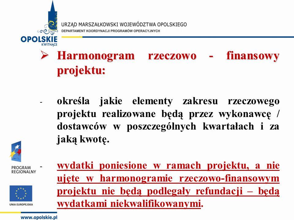  Harmonogram rzeczowo - finansowy projektu: - określa jakie elementy zakresu rzeczowego projektu realizowane będą przez wykonawcę / dostawców w poszczególnych kwartałach i za jaką kwotę.