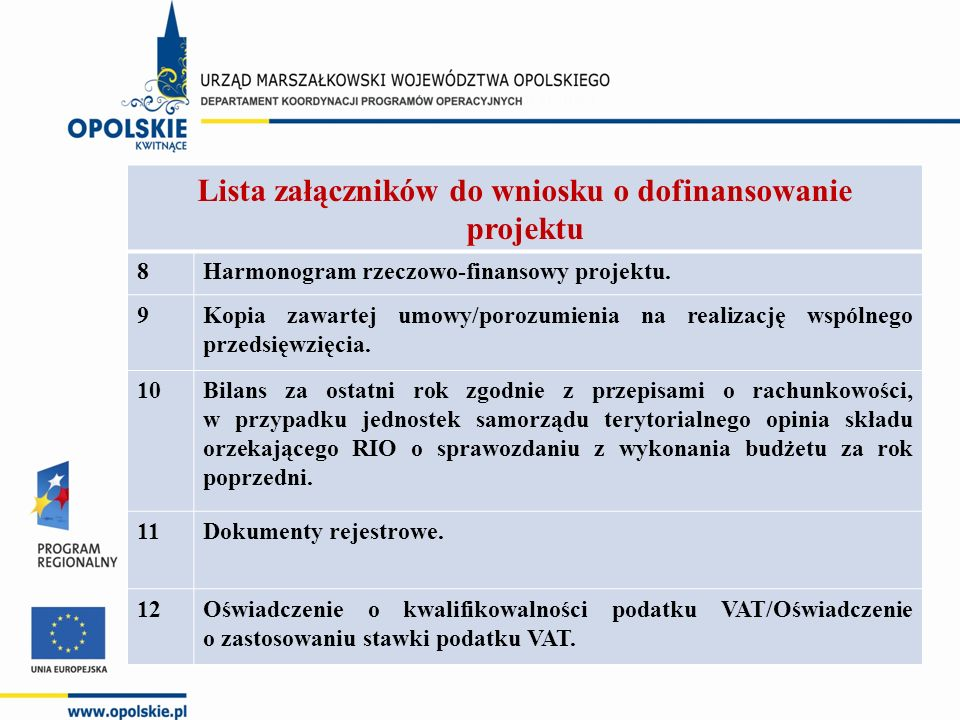 Lista załączników do wniosku o dofinansowanie projektu 8Harmonogram rzeczowo-finansowy projektu.