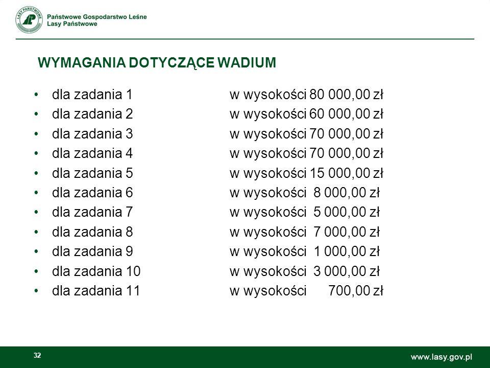 32 WYMAGANIA DOTYCZĄCE WADIUM dla zadania 1w wysokości 80 000,00 zł dla zadania 2w wysokości 60 000,00 zł dla zadania 3w wysokości 70 000,00 zł dla za