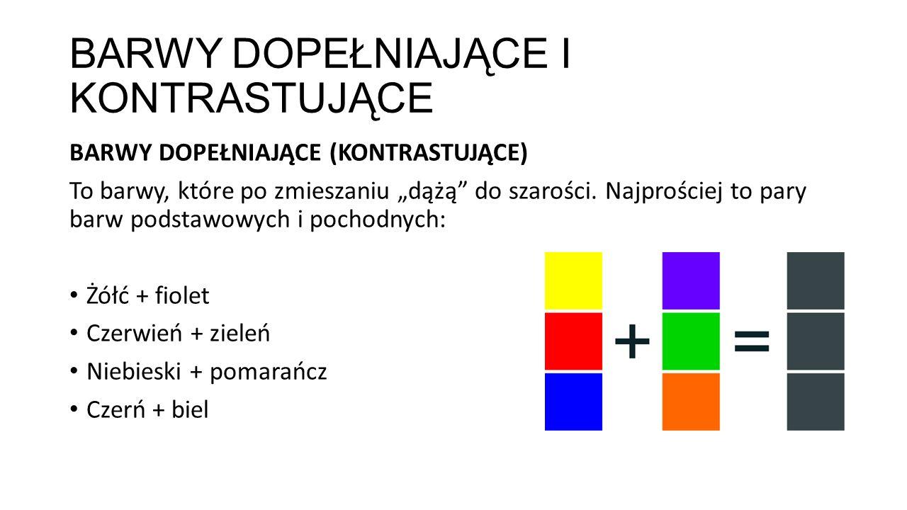 """BARWY DOPEŁNIAJĄCE I KONTRASTUJĄCE BARWY DOPEŁNIAJĄCE (KONTRASTUJĄCE) To barwy, które po zmieszaniu """"dążą"""" do szarości. Najprościej to pary barw podst"""