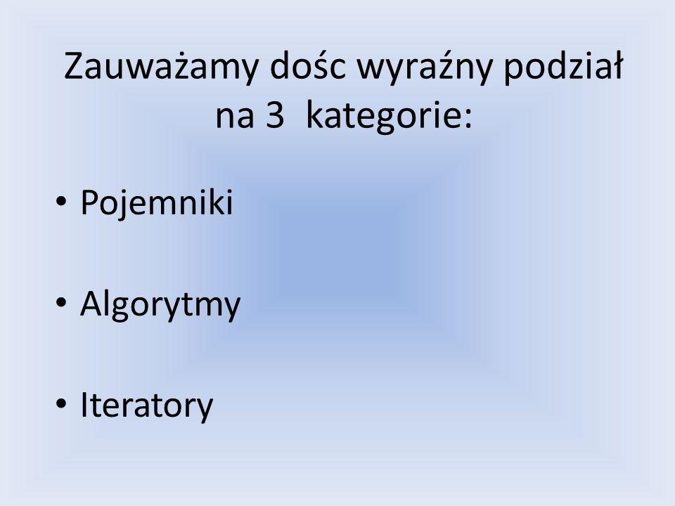 Zauważamy dośc wyraźny podział na 3 kategorie: Pojemniki Algorytmy Iteratory
