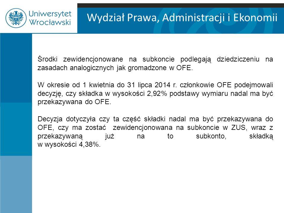 Wydział Prawa, Administracji i Ekonomii Środki zewidencjonowane na subkoncie podlegają dziedziczeniu na zasadach analogicznych jak gromadzone w OFE.