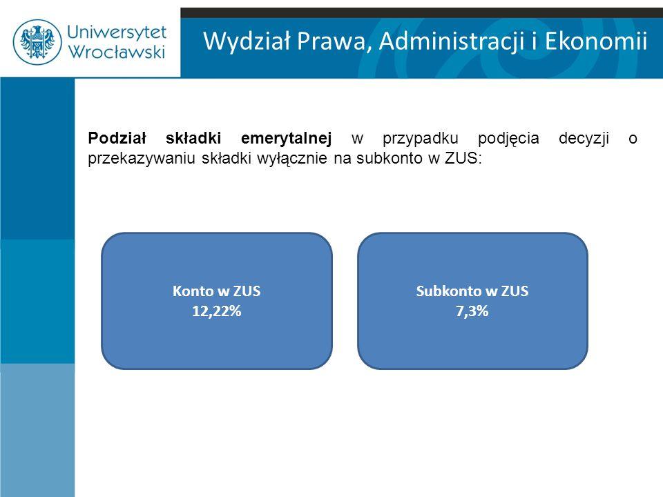 Wydział Prawa, Administracji i Ekonomii Podział składki emerytalnej w przypadku podjęcia decyzji o przekazywaniu składki wyłącznie na subkonto w ZUS: Konto w ZUS 12,22% Subkonto w ZUS 7,3%