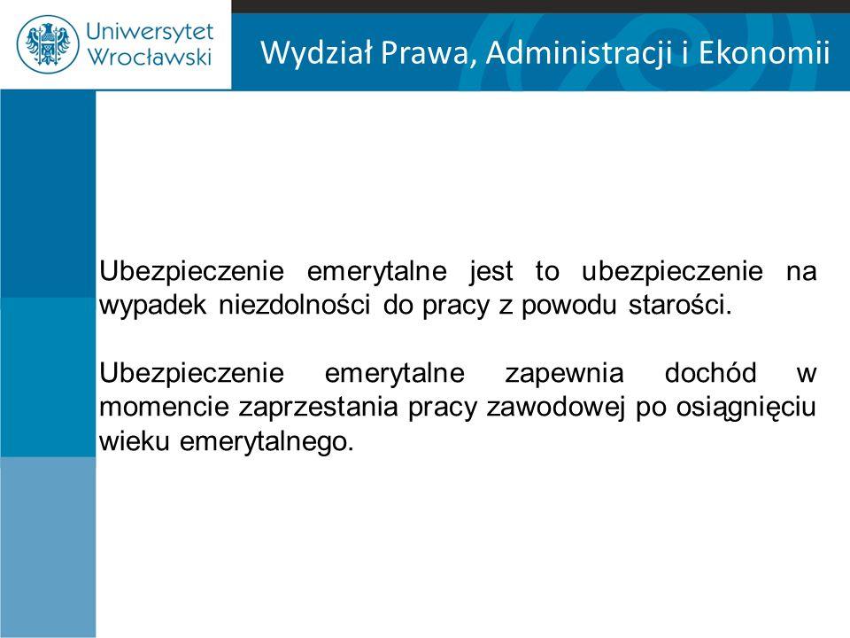 Wydział Prawa, Administracji i Ekonomii Obowiązkowo ubezpieczeniom emerytalnemu podlegają, osoby fizyczne, które na obszarze Rzeczypospolitej Polskiej są: m.in.: - pracownikami z wyłączeniem prokuratorów, - osobami wykonującymi pracę nakładczą, - członkami rolniczych spółdzielni produkcyjnych i spółdzielni kółek rolniczych, - osobami wykonującymi pracę na podstawie umowy agencyjnej lub umowy zlecenia albo innej umowy o świadczenie usług, do której zgodnie z Kodeksem cywilnym stosuje się przepisy dotyczące zlecenia, oraz osobami z nimi współpracującymi, - osobami prowadzącymi pozarolniczą działalność oraz osobami z nimi współpracującymi …