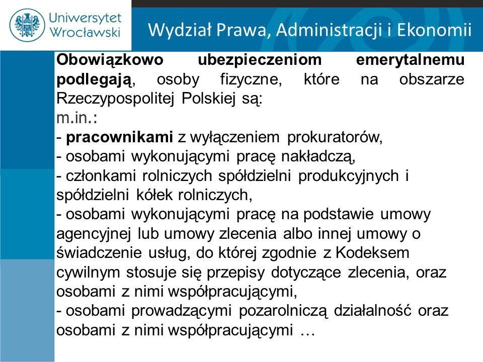 Wydział Prawa, Administracji i Ekonomii Ustanie prawa do świadczeń Art.