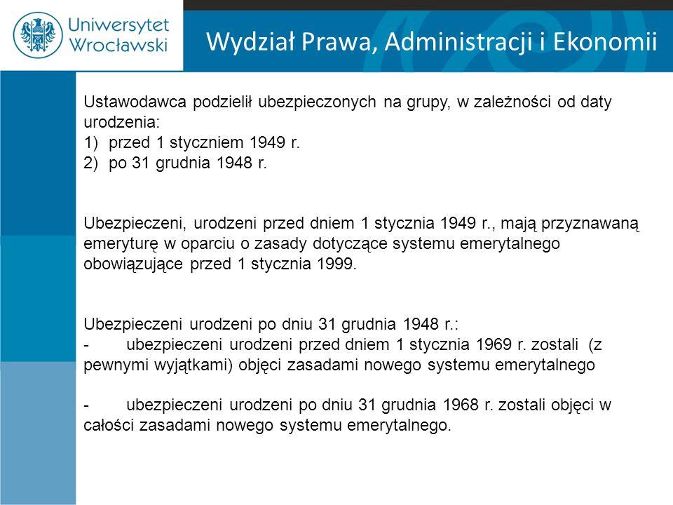 Wydział Prawa, Administracji i Ekonomii Ustawodawca podzielił ubezpieczonych na grupy, w zależności od daty urodzenia: 1)przed 1 styczniem 1949 r.