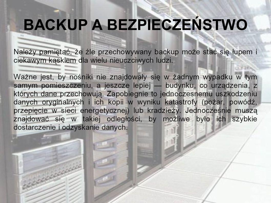 BACKUP A BEZPIECZEŃSTWO Należy pamiętać, że źle przechowywany backup może stać się łupem i ciekawym kąskiem dla wielu nieuczciwych ludzi. Ważne jest,