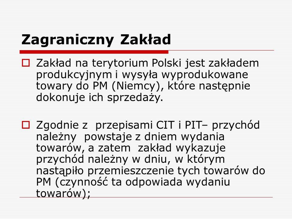 Zagraniczny Zakład  Zakład na terytorium Polski jest zakładem produkcyjnym i wysyła wyprodukowane towary do PM (Niemcy), które następnie dokonuje ich