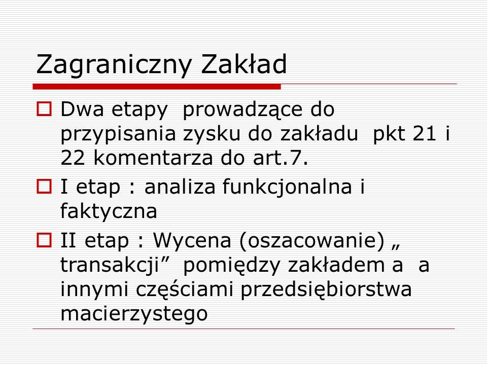 Zagraniczny Zakład  Dwa etapy prowadzące do przypisania zysku do zakładu pkt 21 i 22 komentarza do art.7.  I etap : analiza funkcjonalna i faktyczna