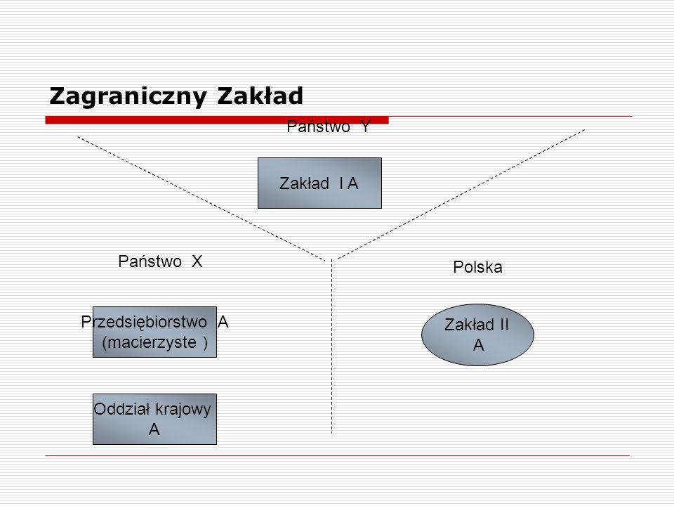 Zagraniczny Zakład Państwo Y Państwo X Polska Przedsiębiorstwo A (macierzyste ) Oddział krajowy A Zakład II A Zakład I A