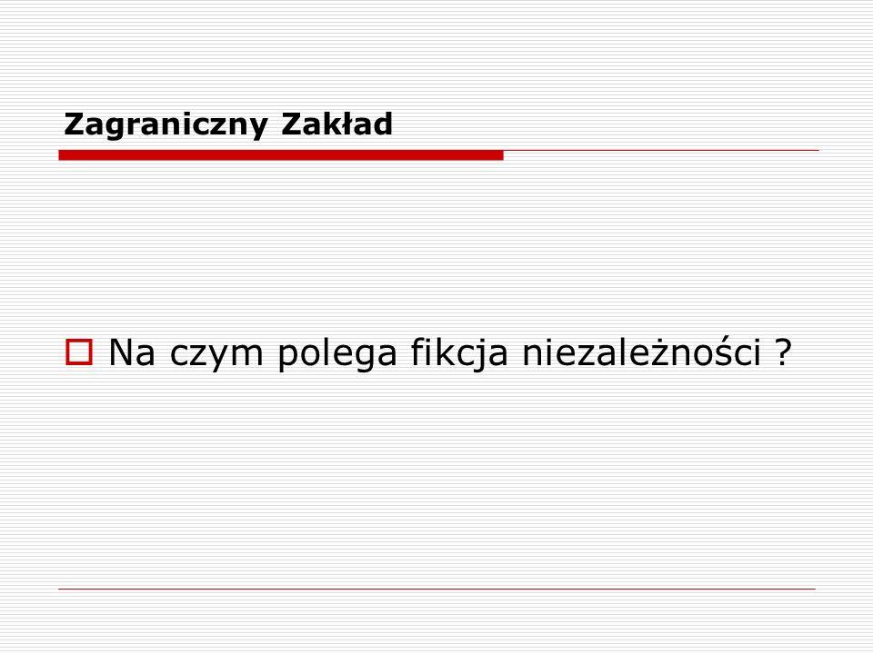 Zagraniczny Zakład Podstawy : Wytyczne OECD w sprawie cen transferowych dla przedsiębiorstw wielonarodowych Prawo polskie : Art.