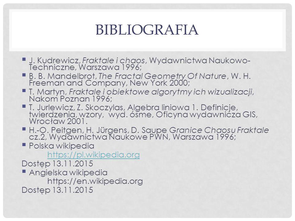 BIBLIOGRAFIA  J. Kudrewicz, Fraktale i chaos, Wydawnictwa Naukowo- Techniczne, Warszawa 1996;  B. B. Mandelbrot, The Fractal Geometry Of Nature, W.