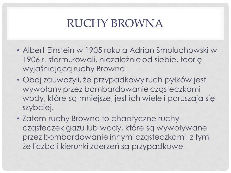 RUCHY BROWNA Albert Einstein w 1905 roku a Adrian Smoluchowski w 1906 r. sformułowali, niezależnie od siebie, teorię wyjaśniającą ruchy Browna. Obaj z