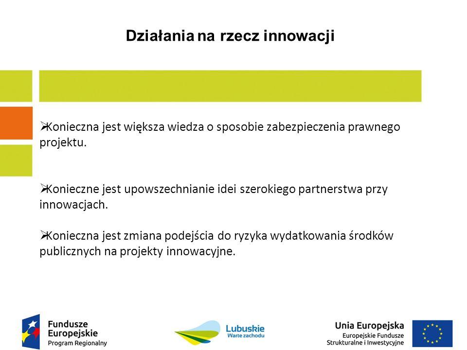 Działania na rzecz innowacji  Konieczna jest większa wiedza o sposobie zabezpieczenia prawnego projektu.