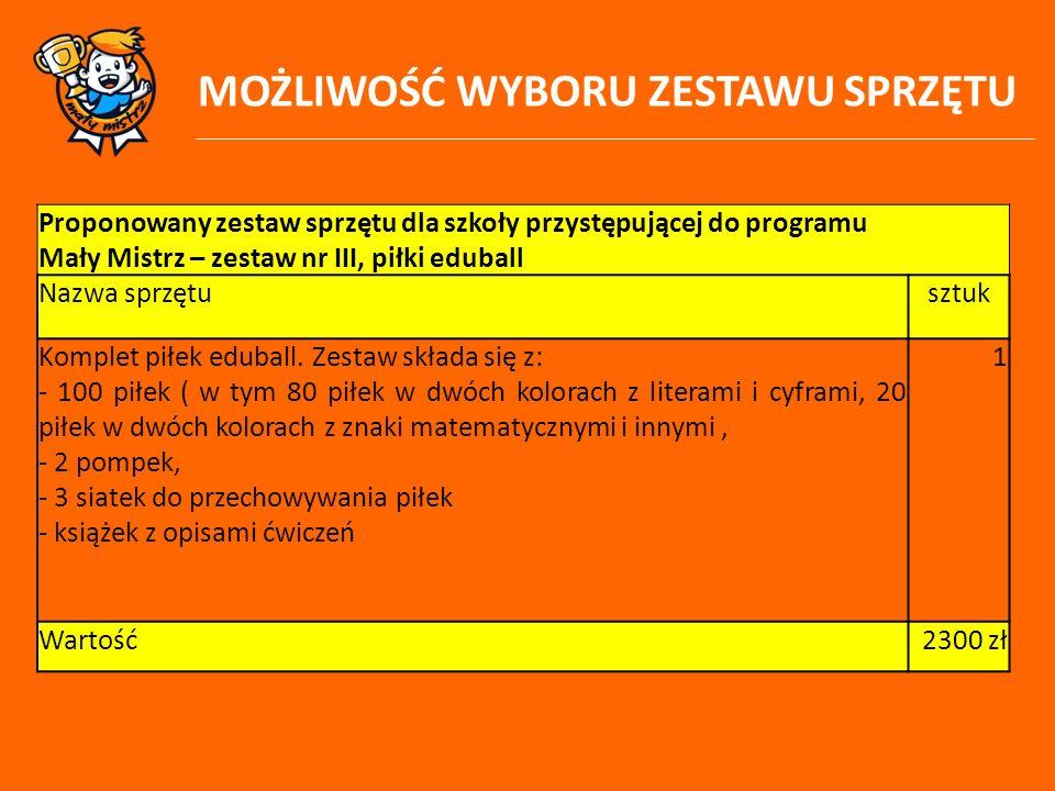 MOŻLIWOŚĆ WYBORU ZESTAWU SPRZĘTU Proponowany zestaw sprzętu dla szkoły przystępującej do programu Mały Mistrz – zestaw nr III, piłki eduball Nazwa spr