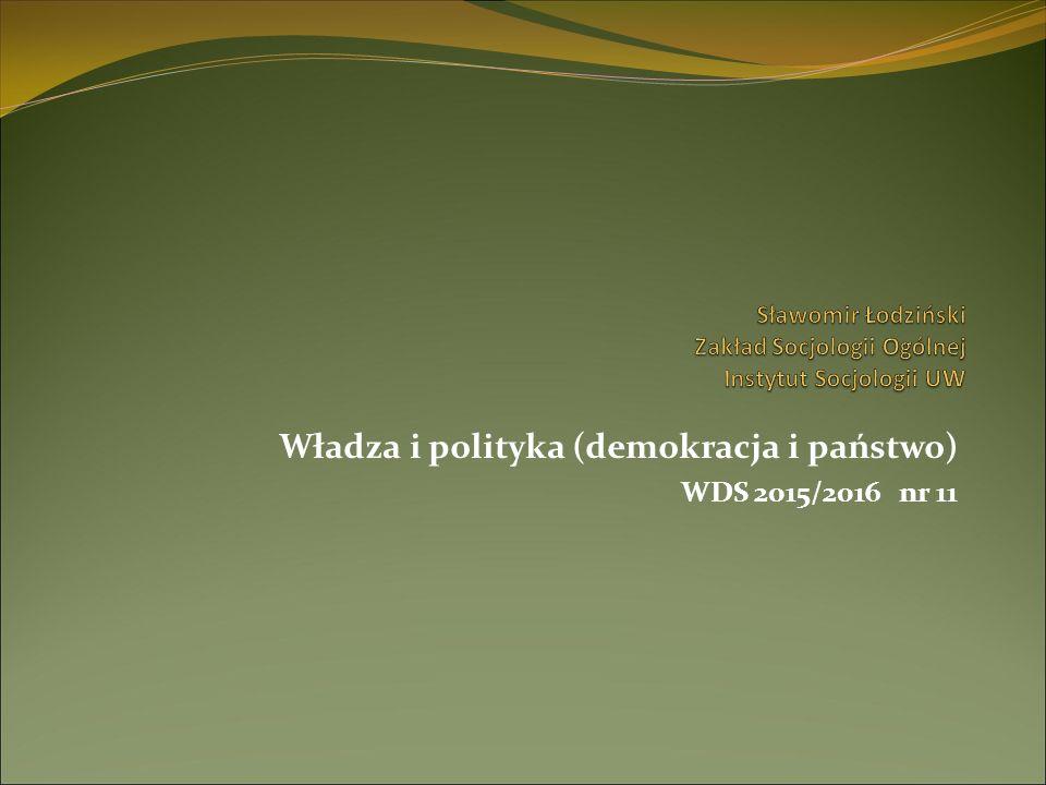 Władza i polityka (demokracja i państwo) WDS 2015/2016 nr 11