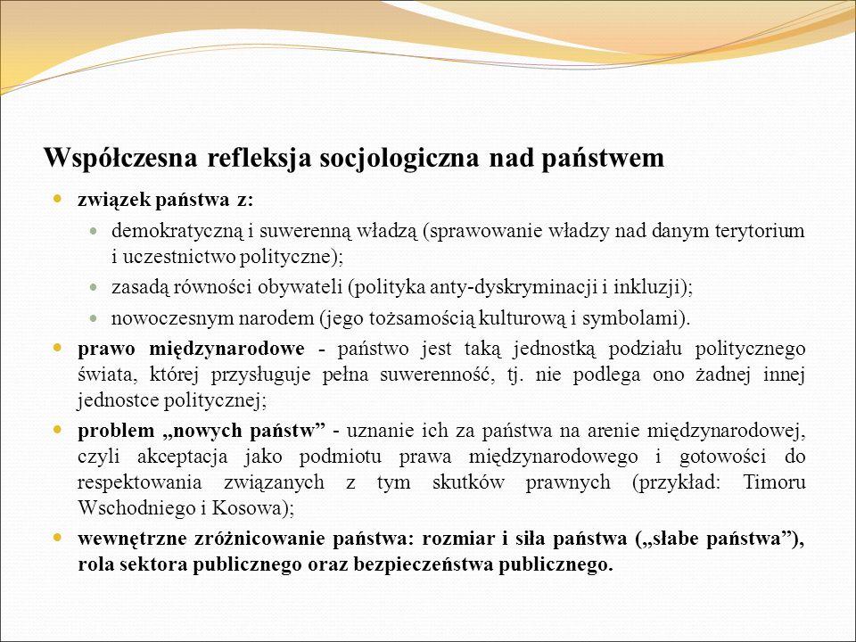 Współczesna refleksja socjologiczna nad państwem związek państwa z: demokratyczną i suwerenną władzą (sprawowanie władzy nad danym terytorium i uczestnictwo polityczne); zasadą równości obywateli (polityka anty-dyskryminacji i inkluzji); nowoczesnym narodem (jego tożsamością kulturową i symbolami).