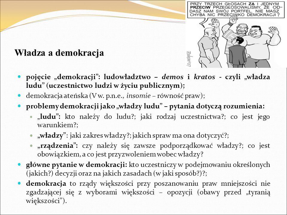"""Władza a demokracja pojęcie """"demokracji"""": ludowładztwo – demos i kratos - czyli """"władza ludu"""" (uczestnictwo ludzi w życiu publicznym); demokracja ateń"""