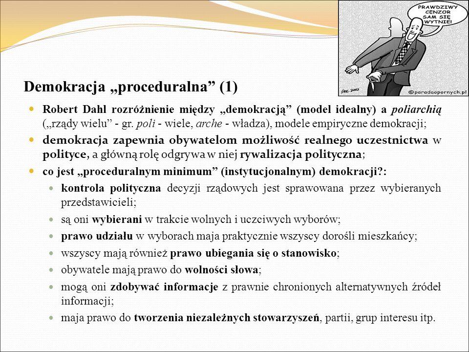 """Demokracja """"proceduralna (1) Robert Dahl rozróżnienie między """"demokracją (model idealny) a poliarchią (""""rządy wielu - gr."""