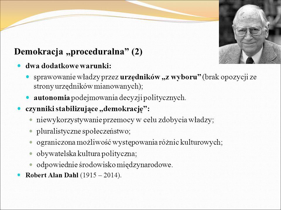 """Demokracja """"proceduralna"""" (2) dwa dodatkowe warunki: sprawowanie władzy przez urzędników """"z wyboru"""" (brak opozycji ze strony urzędników mianowanych);"""