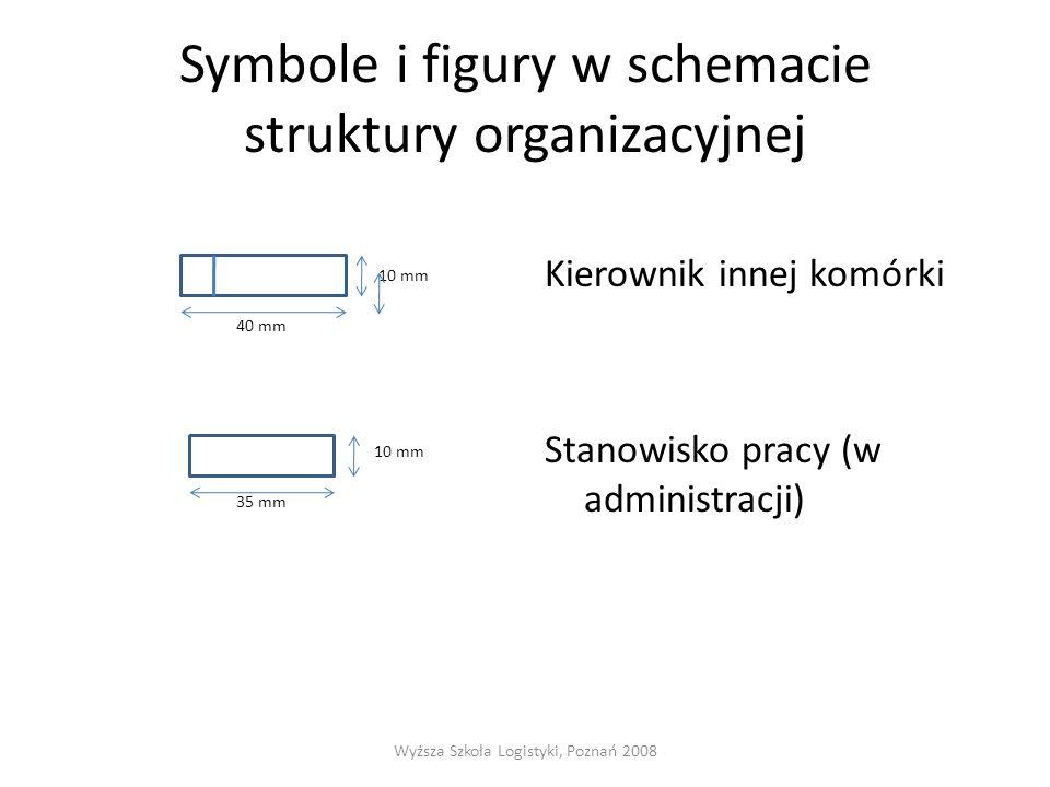 Symbole i figury w schemacie struktury organizacyjnej 10 mm 40 mm 10 mm 35 mm Kierownik innej komórki Stanowisko pracy (w administracji) Wyższa Szkoła Logistyki, Poznań 2008