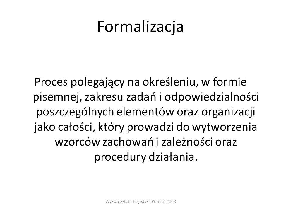 Formalizacja Proces polegający na określeniu, w formie pisemnej, zakresu zadań i odpowiedzialności poszczególnych elementów oraz organizacji jako cało