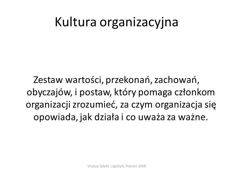 Kultura organizacyjna Zestaw wartości, przekonań, zachowań, obyczajów, i postaw, który pomaga członkom organizacji zrozumieć, za czym organizacja się opowiada, jak działa i co uważa za ważne.