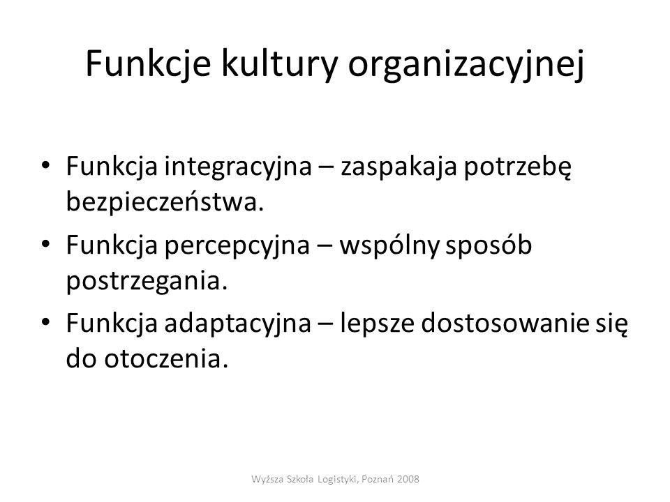 Funkcje kultury organizacyjnej Funkcja integracyjna – zaspakaja potrzebę bezpieczeństwa. Funkcja percepcyjna – wspólny sposób postrzegania. Funkcja ad
