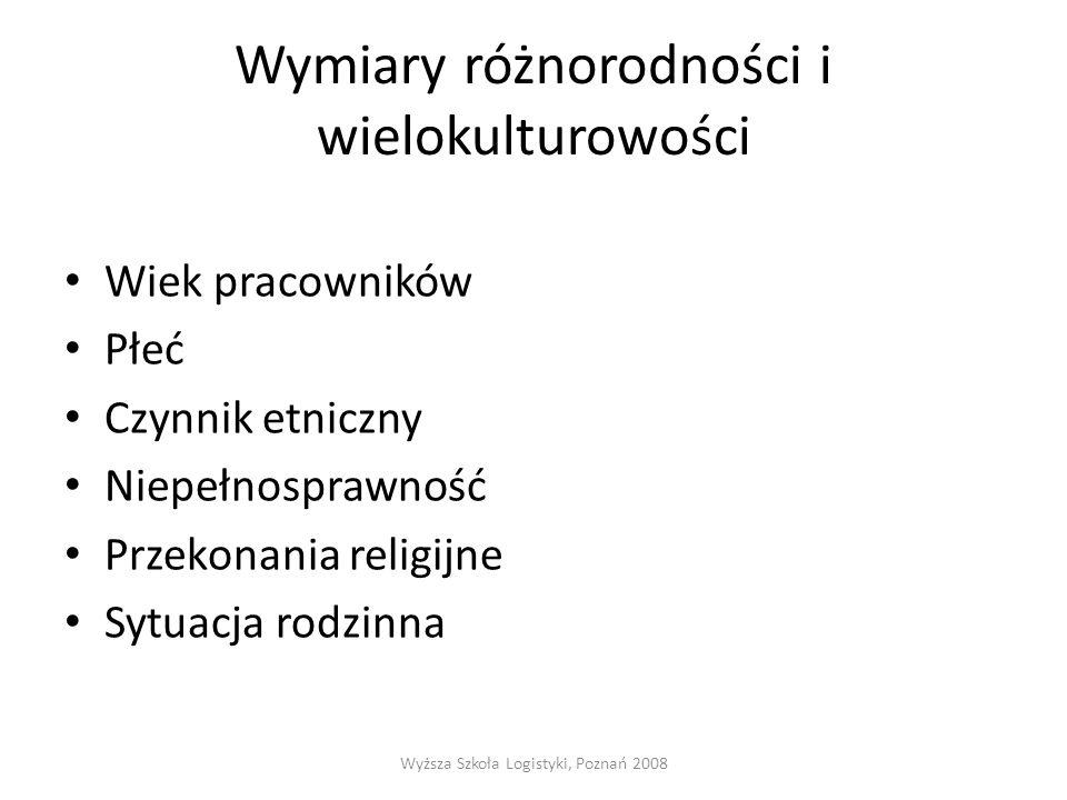 Wymiary różnorodności i wielokulturowości Wiek pracowników Płeć Czynnik etniczny Niepełnosprawność Przekonania religijne Sytuacja rodzinna Wyższa Szkoła Logistyki, Poznań 2008