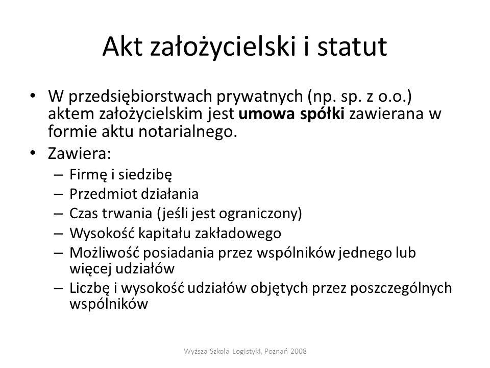 Akt założycielski i statut W przedsiębiorstwach prywatnych (np.