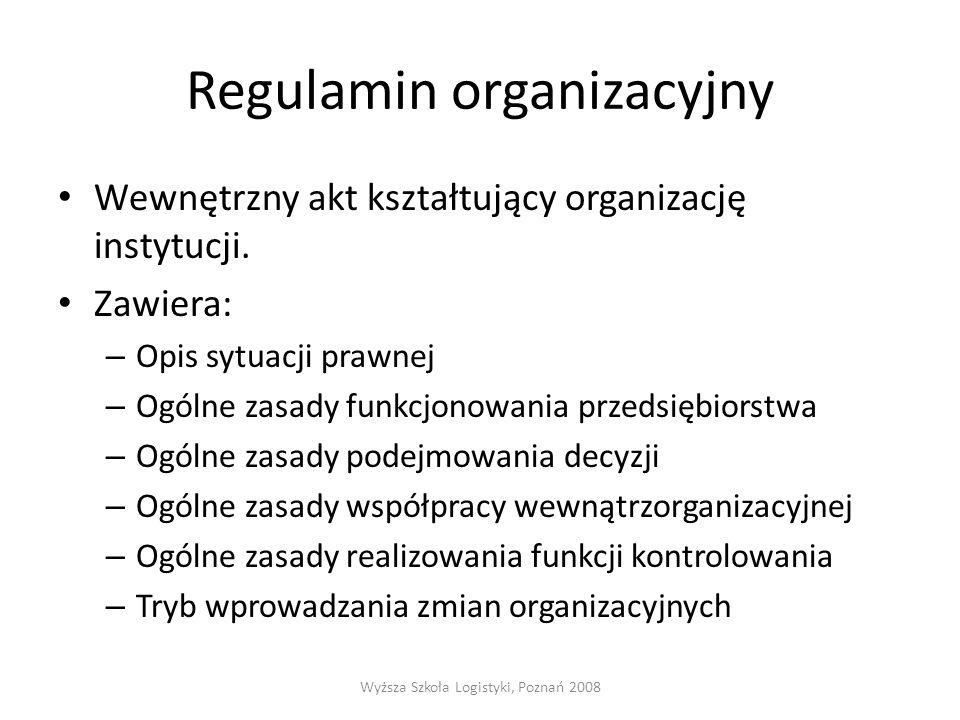 Regulamin organizacyjny Wewnętrzny akt kształtujący organizację instytucji. Zawiera: – Opis sytuacji prawnej – Ogólne zasady funkcjonowania przedsiębi