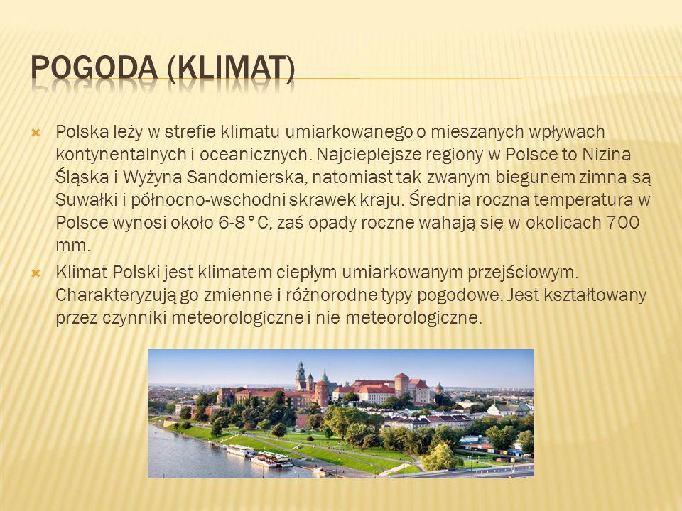  Polska leży w strefie klimatu umiarkowanego o mieszanych wpływach kontynentalnych i oceanicznych.