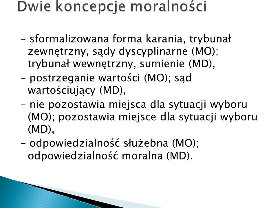- sformalizowana forma karania, trybunał zewnętrzny, sądy dyscyplinarne (MO); trybunał wewnętrzny, sumienie (MD), - postrzeganie wartości (MO); sąd wartościujący (MD), - nie pozostawia miejsca dla sytuacji wyboru (MO); pozostawia miejsce dla sytuacji wyboru (MD), - odpowiedzialność służebna (MO); odpowiedzialność moralna (MD).