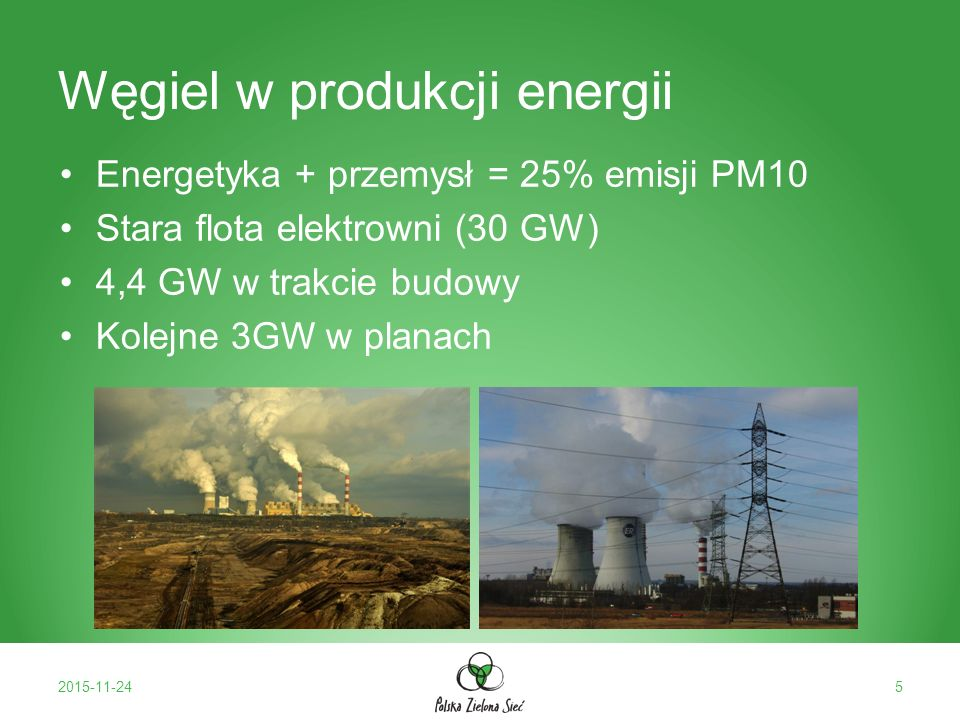 Węgiel w produkcji energii Energetyka + przemysł = 25% emisji PM10 Stara flota elektrowni (30 GW) 4,4 GW w trakcie budowy Kolejne 3GW w planach 2015-11-245