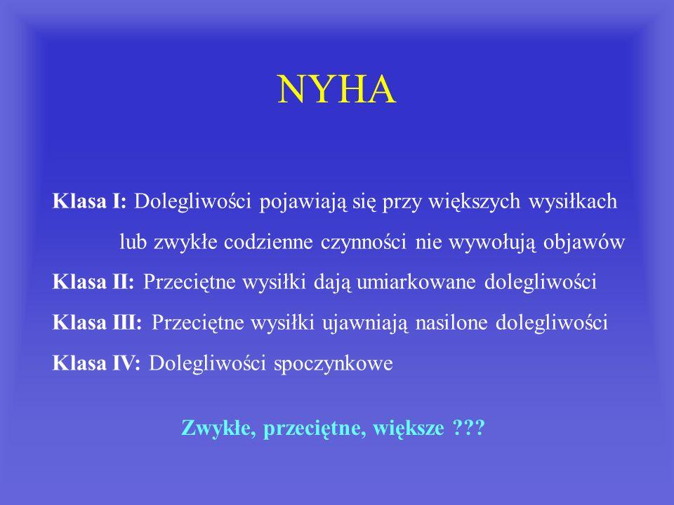 NYHA Klasa I: Dolegliwości pojawiają się przy większych wysiłkach lub zwykłe codzienne czynności nie wywołują objawów Klasa II: Przeciętne wysiłki daj