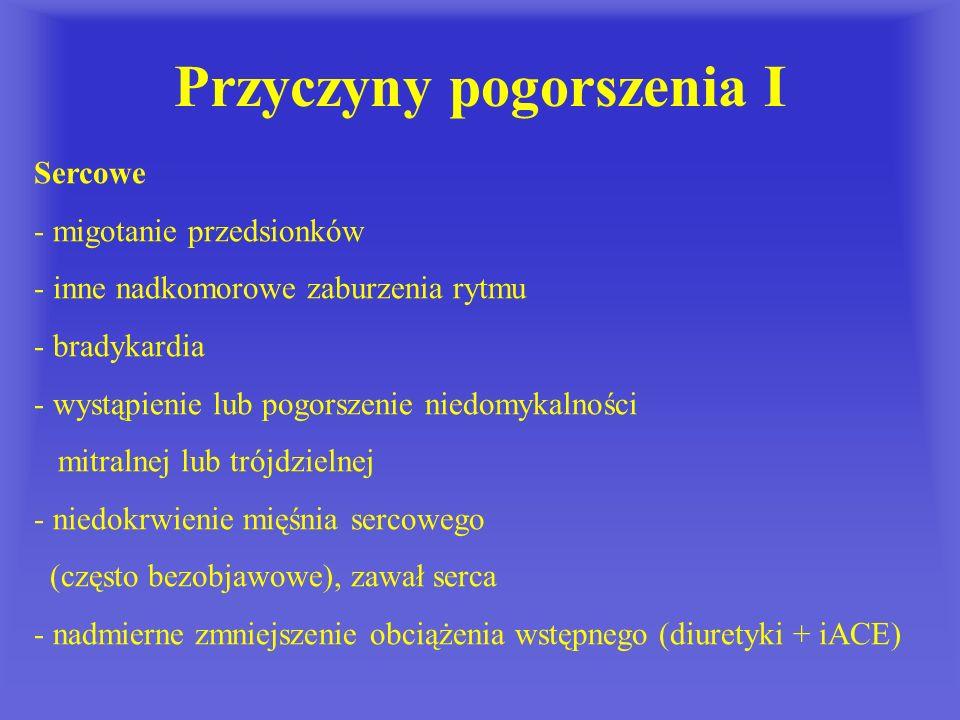 Przyczyny pogorszenia I Sercowe - migotanie przedsionków - inne nadkomorowe zaburzenia rytmu - bradykardia - wystąpienie lub pogorszenie niedomykalnoś