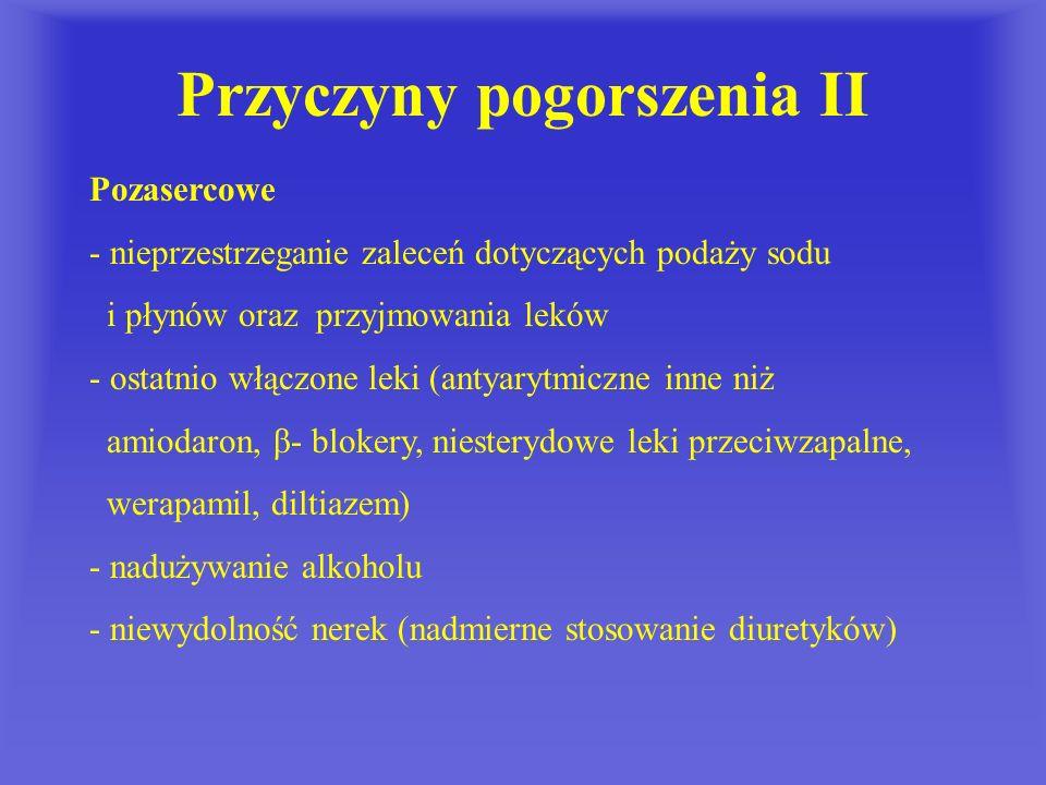 Przyczyny pogorszenia II Pozasercowe - nieprzestrzeganie zaleceń dotyczących podaży sodu i płynów oraz przyjmowania leków - ostatnio włączone leki (an
