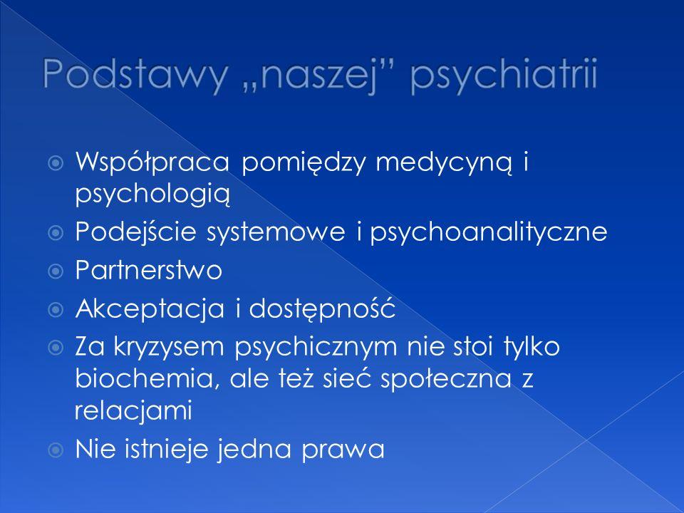  Współpraca pomiędzy medycyną i psychologią  Podejście systemowe i psychoanalityczne  Partnerstwo  Akceptacja i dostępność  Za kryzysem psychicznym nie stoi tylko biochemia, ale też sieć społeczna z relacjami  Nie istnieje jedna prawa