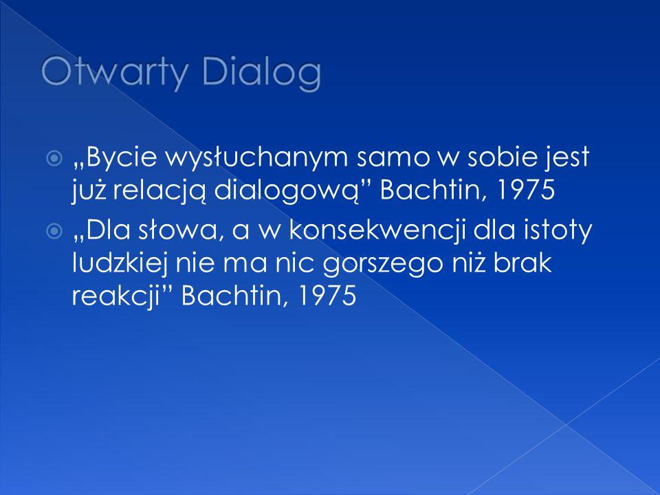 """ """"Bycie wysłuchanym samo w sobie jest już relacją dialogową Bachtin, 1975  """"Dla słowa, a w konsekwencji dla istoty ludzkiej nie ma nic gorszego niż brak reakcji Bachtin, 1975"""