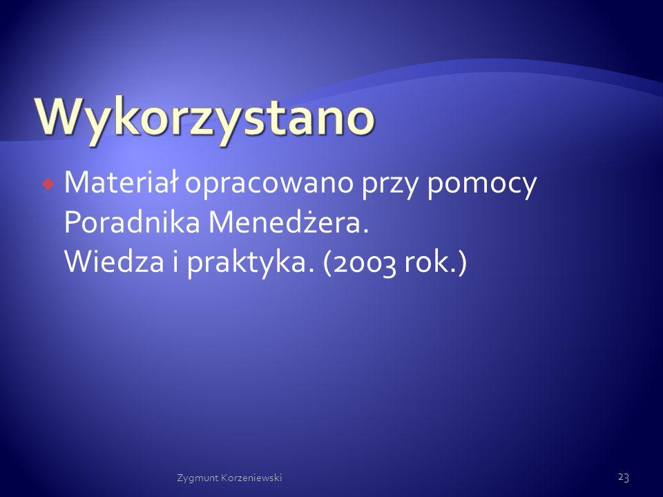  Materiał opracowano przy pomocy Poradnika Menedżera. Wiedza i praktyka. (2003 rok.) Zygmunt Korzeniewski 23