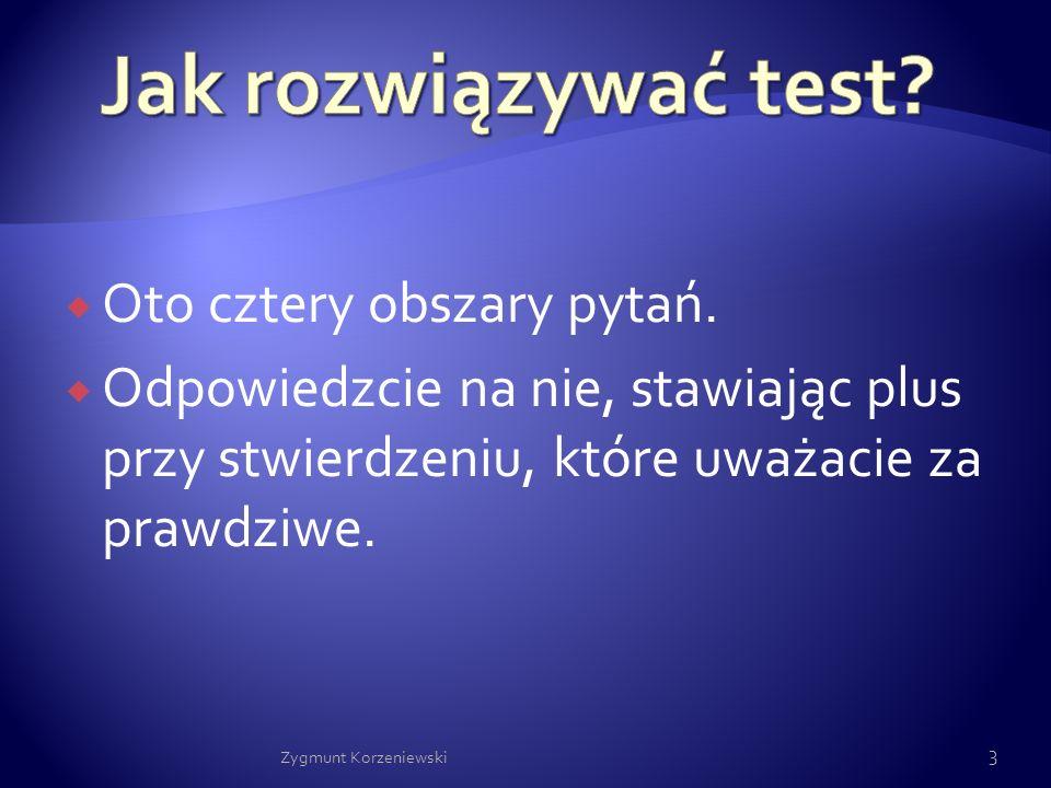  Pamiętajcie, że wyniki testu wskazują na postawę, jaką najczęściej przejawiacie w życiu.