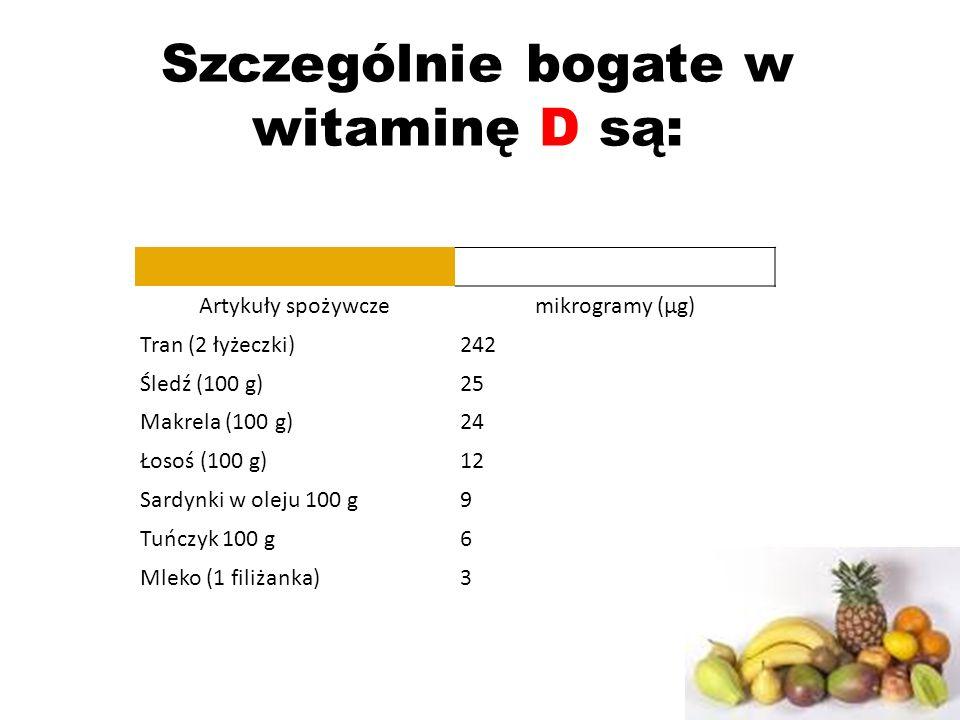 Szczególnie bogate w witaminę D są: Artykuły spożywczemikrogramy (µg) Tran (2 łyżeczki)242 Śledź (100 g)25 Makrela (100 g)24 Łosoś (100 g)12 Sardynki w oleju 100 g9 Tuńczyk 100 g6 Mleko (1 filiżanka)3