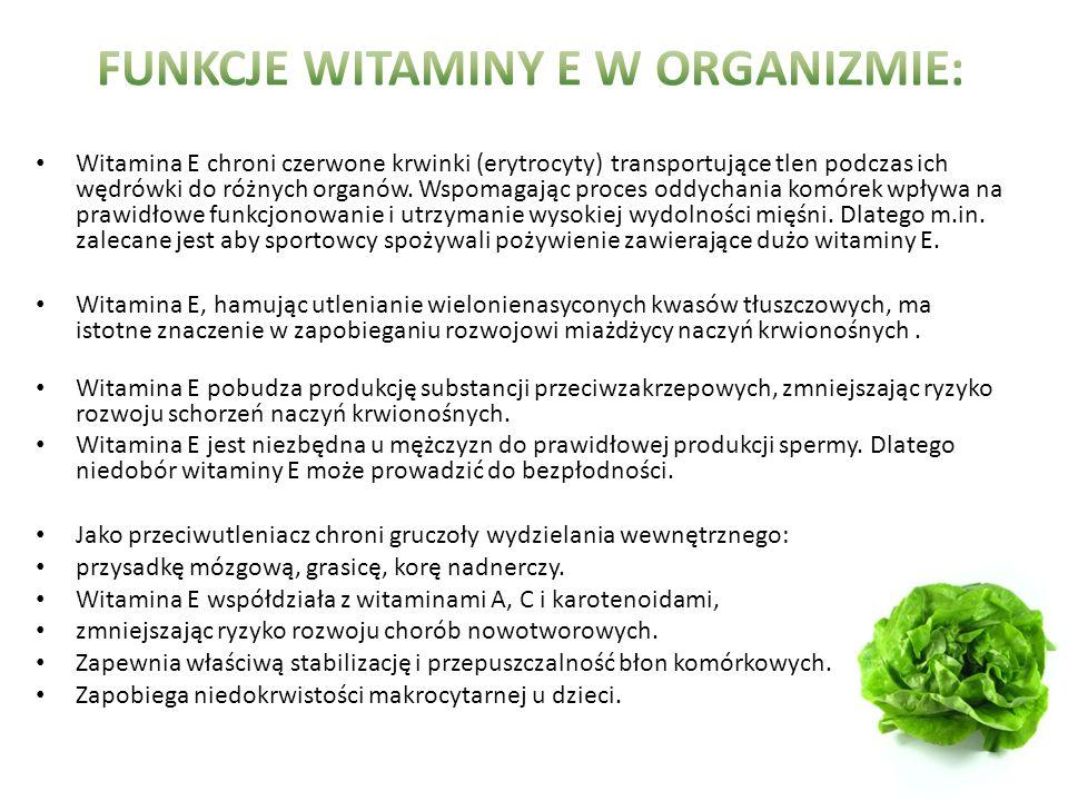 Witamina E chroni czerwone krwinki (erytrocyty) transportujące tlen podczas ich wędrówki do różnych organów.