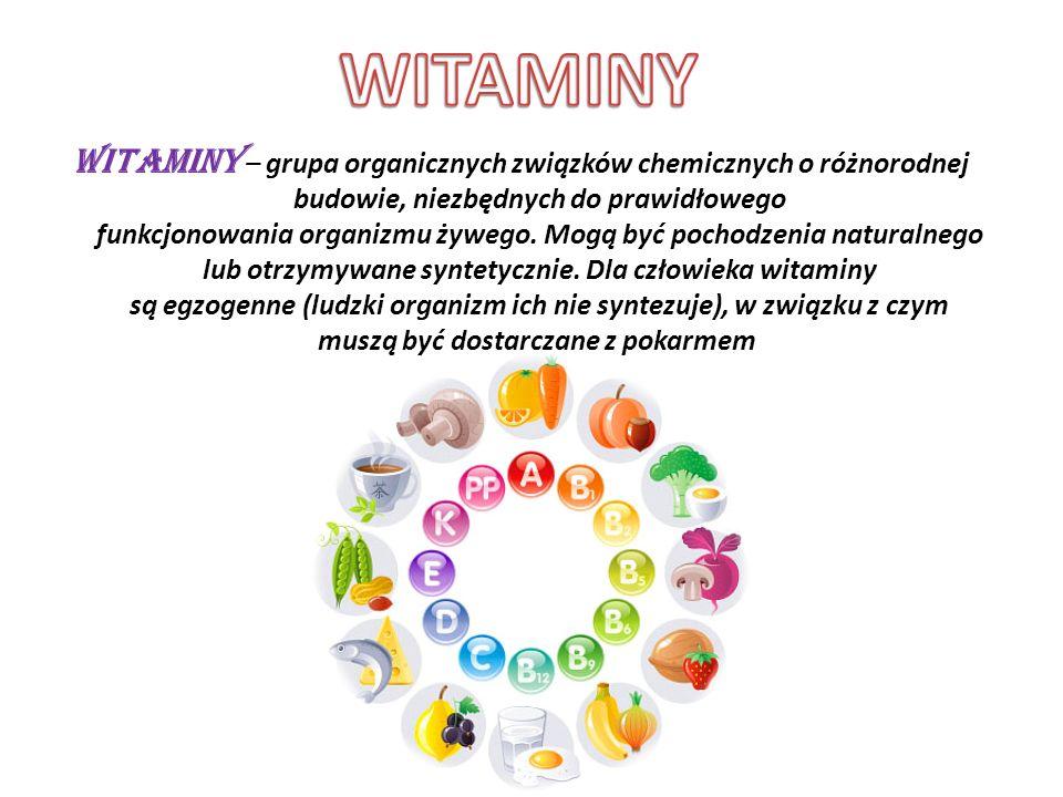 PODSTAWOWE POJĘCIA DOTYCZĄCE WITAMIN Długotrwały brak określonej witaminy lub zespołu witamin powoduje chorobę zwaną awitaminozą.