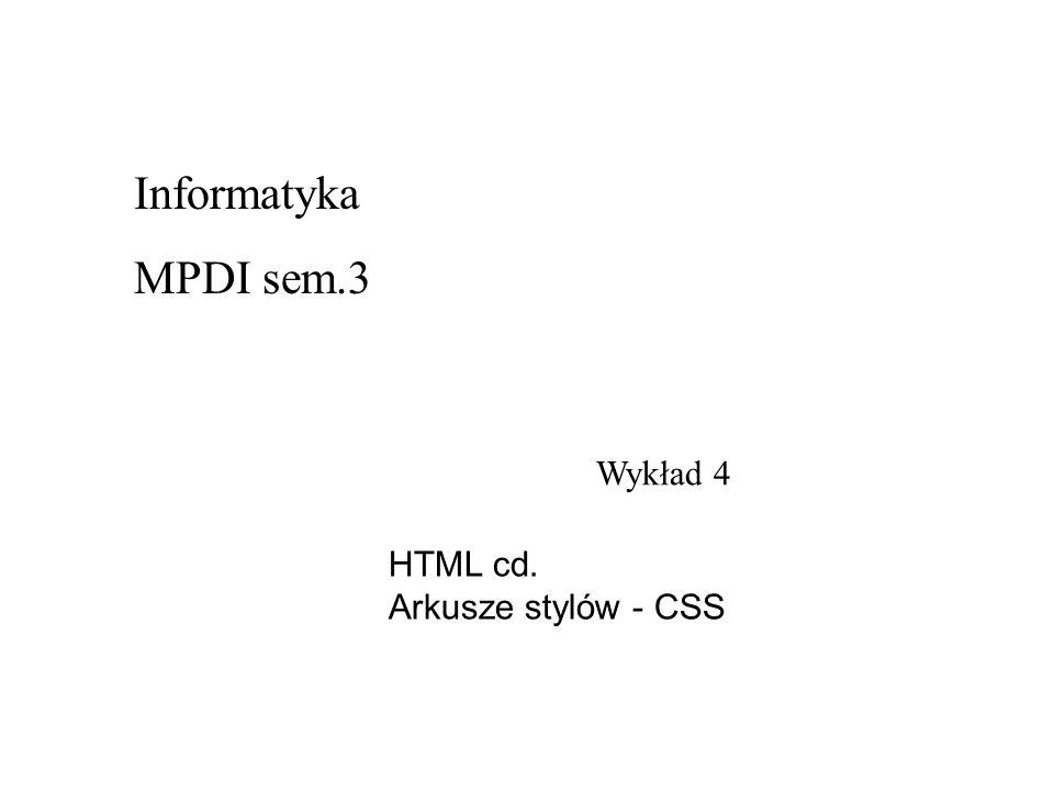 Wykład 4 Informatyka MPDI sem.3 HTML cd. Arkusze stylów - CSS