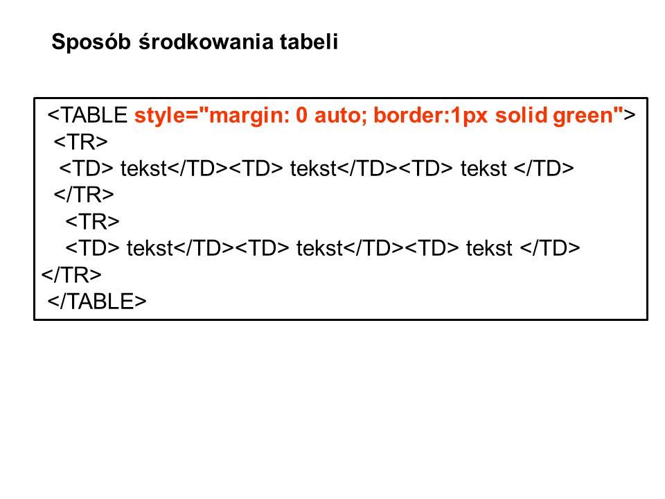 tekst tekst tekst tekst tekst tekst Sposób środkowania tabeli