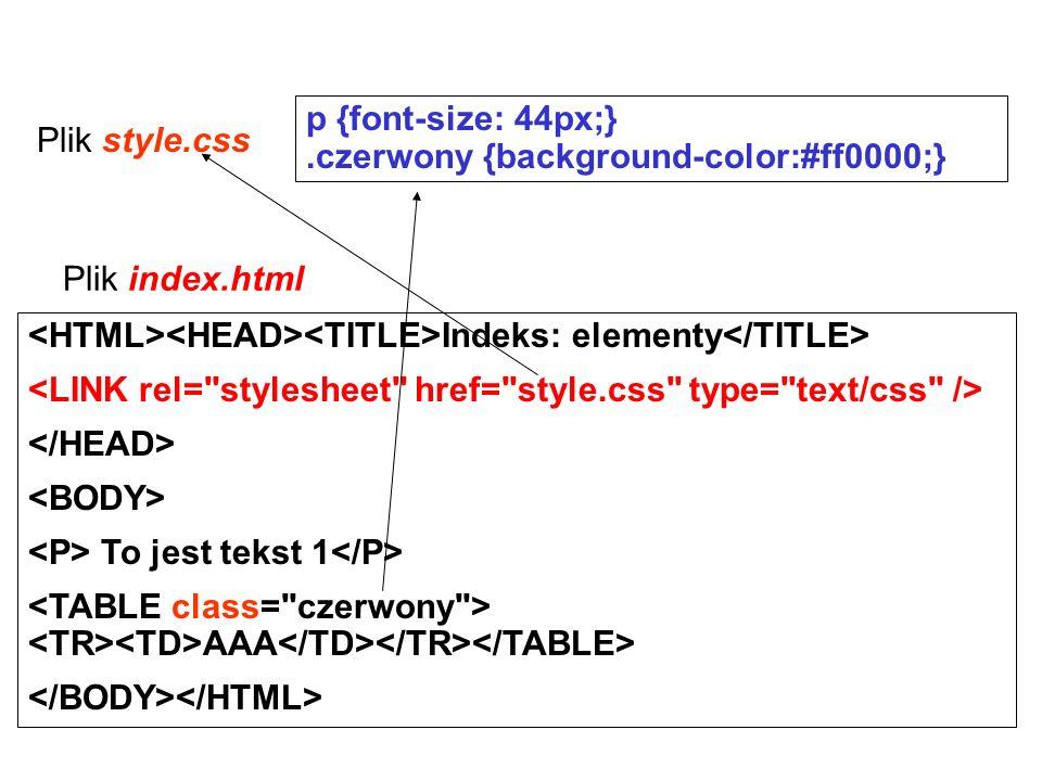 Plik style.css p {font-size: 44px;}.czerwony {background-color:#ff0000;} Plik index.html Indeks: elementy To jest tekst 1 AAA