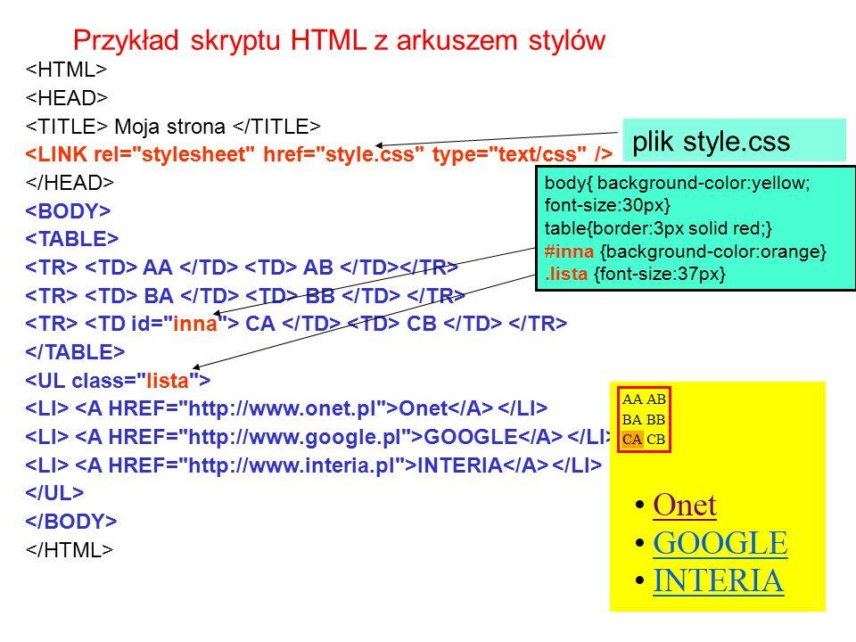 Przykład skryptu HTML z arkuszem stylów Moja strona AA AB BA BB CA CB Onet GOOGLE INTERIA body{ background-color:yellow; font-size:30px} table{border: