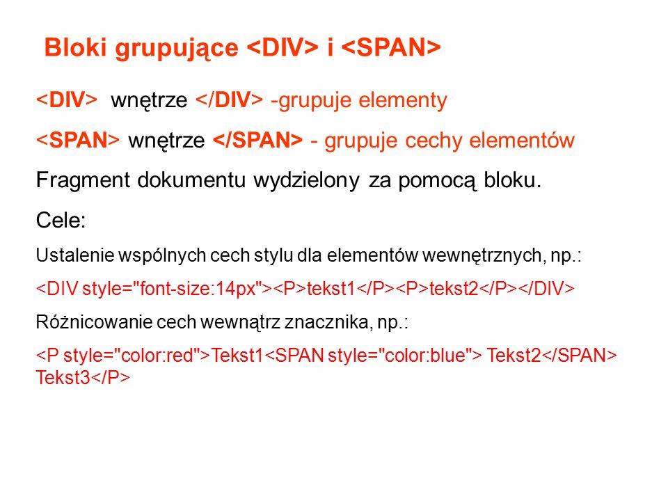 wnętrze -grupuje elementy wnętrze - grupuje cechy elementów Fragment dokumentu wydzielony za pomocą bloku. Cele: Ustalenie wspólnych cech stylu dla el